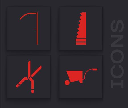 Set Wheelbarrow, Scythe, Garden saw and Gardening handmade scissors icon. Vector
