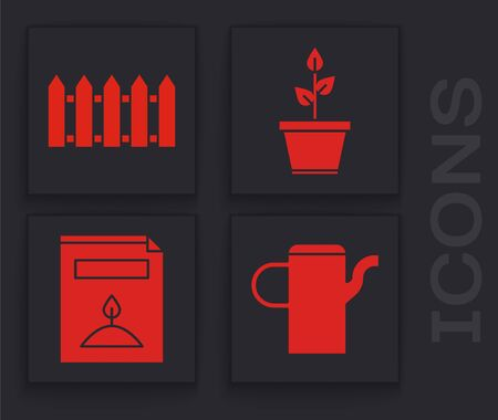 Set Watering can, Garden fence wooden, Plant in pot and A pack full of seeds of a specific plant icon. Vector