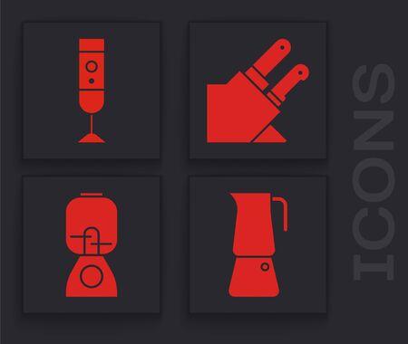 Set Moka pot, Blender, Knife and Blender icon. Vector
