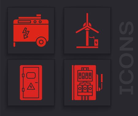 Set Electrical panel, Portable power electric generator, Wind turbine and Electrical cabinet icon. Vector Vettoriali
