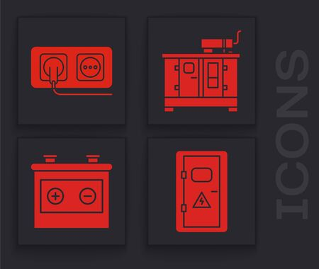 Set Electrical cabinet, Electrical outlet, Diesel power generator and Car battery icon. Vector