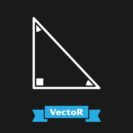 White Triangle math icon isolated on black background. Vector Illustration