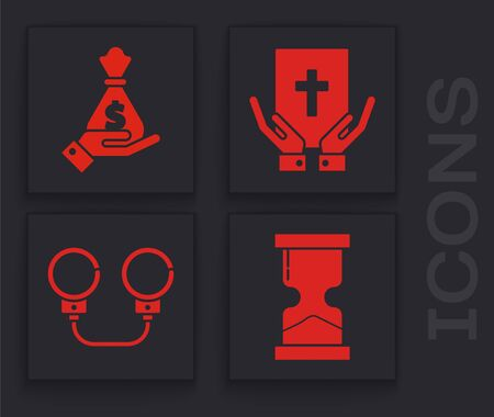 Set Old hourglass, Hand holding money bag, Oath on the Holy Bible and Handcuffs icon. Vector Vectores
