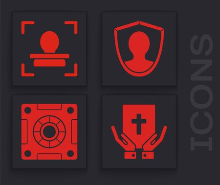Set Oath on the Holy Bible, Face recognition, User protection and Safe icon. Vector Illustration