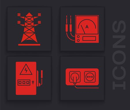 Set Electrical outlet, High voltage power pole line, Ampere meter, multimeter, voltmeter and Electrical panel icon. Vector