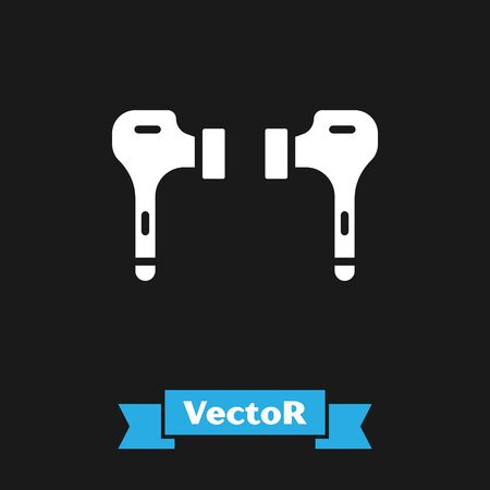 White Air headphones icon icon isolated on black background. Holder wireless in case earphones garniture electronic gadget. Vector Illustration