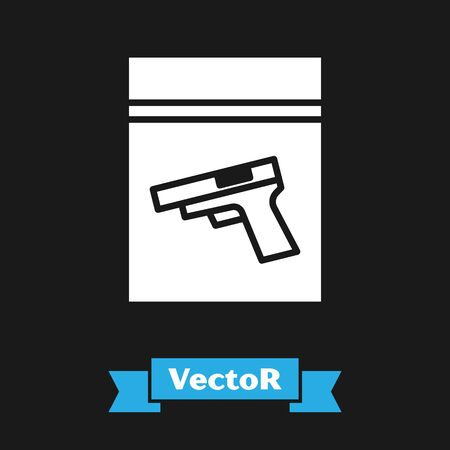 White Evidence bag and pistol or gun icon isolated on black background. Vector Illustration