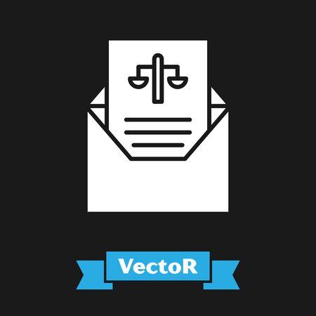 White Subpoena icon isolated on black background. The arrest warrant, police report, subpoena. Justice concept. Vector Illustration Illustration