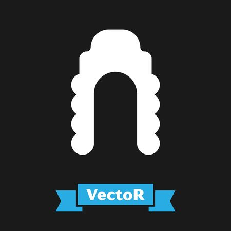 White Judge wig icon isolated on black background. Medieval style antique. Vector Illustration