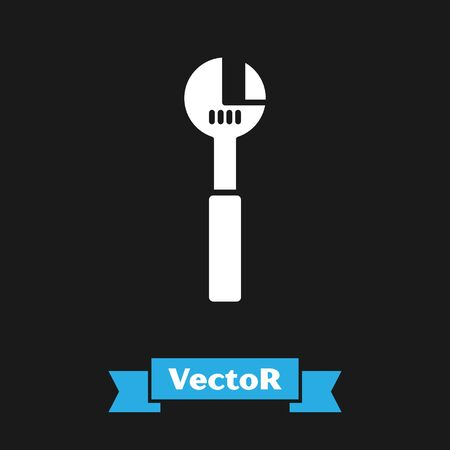 White Adjustable wrench icon isolated on black background. Vector Illustration