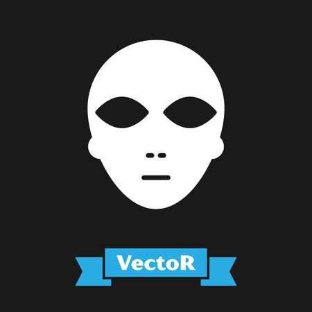 White Alien icon isolated on black background. Extraterrestrial alien face or head symbol. Vector Illustration Illustration