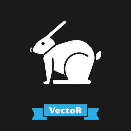 White Easter rabbit icon isolated on black background. Easter Bunny. Vector Illustration