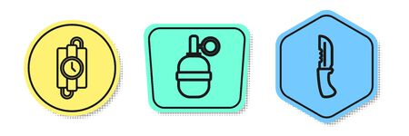 Set line dynamite stick and timer clock, Hand grenade and Military knife. Colored shapes. Vector