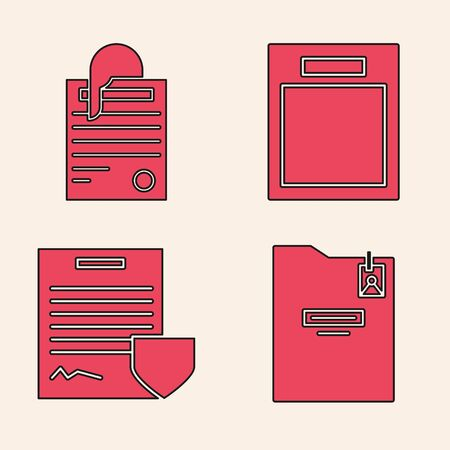 Set Personal folder, File document and paper clip, Empty form and Contract with shield icon. Vector Ilustrace