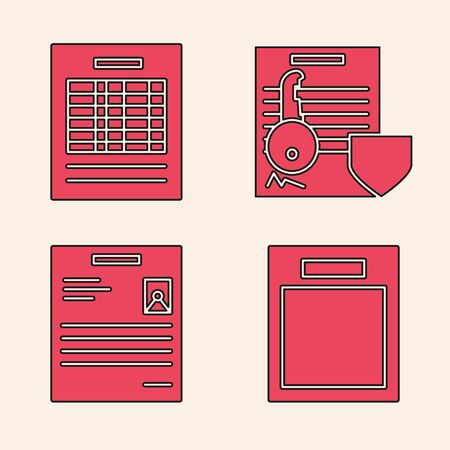 Set Empty form, Report file document, Document with key with shield and Personal document icon. Vector