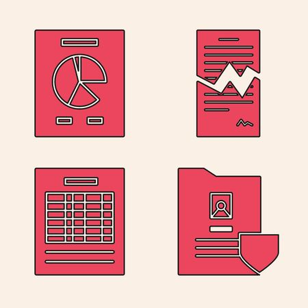 Set Document with shield, Document with graph chart, Torn contract and Report file document icon. Vector