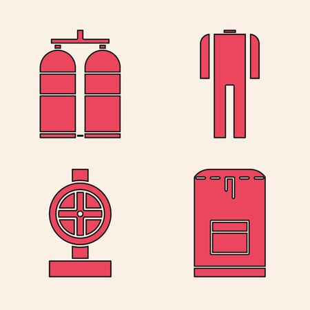 Set Backpack, Aqualung, Wetsuit for scuba diving and Industry metallic pipes and valve icon. Vector
