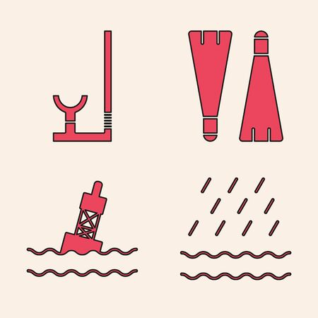 Set Rain and waves, Snorkel, Rubber flippers for swimming and Floating buoy on the sea icon. Vector
