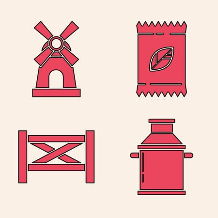 Set Can container for milk, Windmill, A pack full of seeds of a specific plant and Garden fence wooden icon. Vector Illustration
