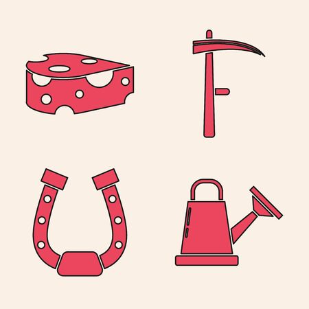 Set Watering can, Cheese, Scythe and Horseshoe icon. Vector
