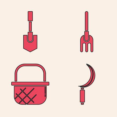 Set Sickle, Shovel, Garden rake and Shopping basket icon. Vector