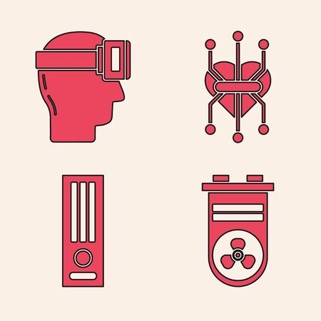 Set Video graphic card, Virtual reality glasses, Processor and Video game console icon. Vector