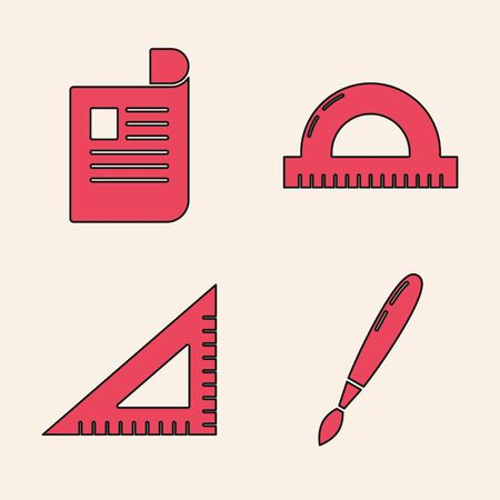 Set Paint brush, Document, Protractor grid for measuring degrees and Triangular ruler icon. Vector