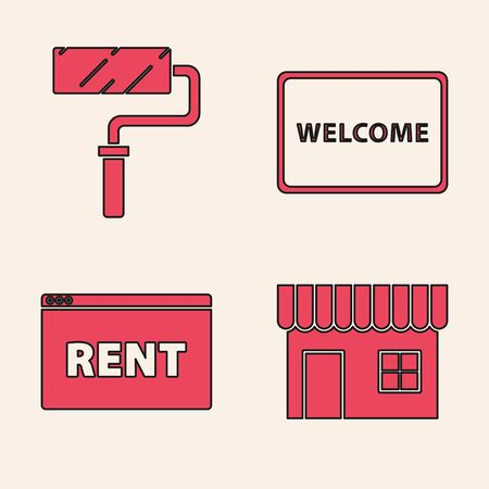 Set Shopping building or market store, Paint roller brush, Doormat with the text Welcome and Hanging sign with text Online Rent icon. Vector Ilustração