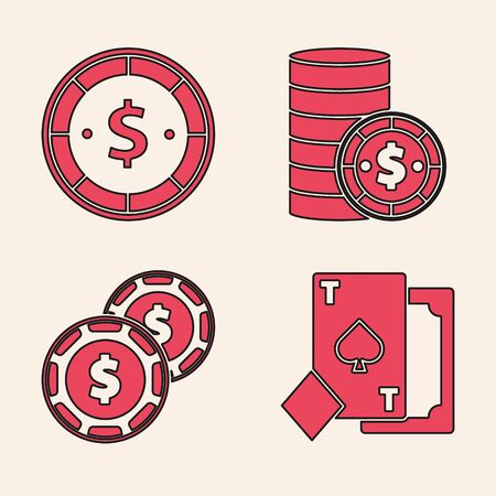 Set Playing card with spades, Casino chip with dollar, Casino chip with dollar and Casino chip with dollar icon. Vector