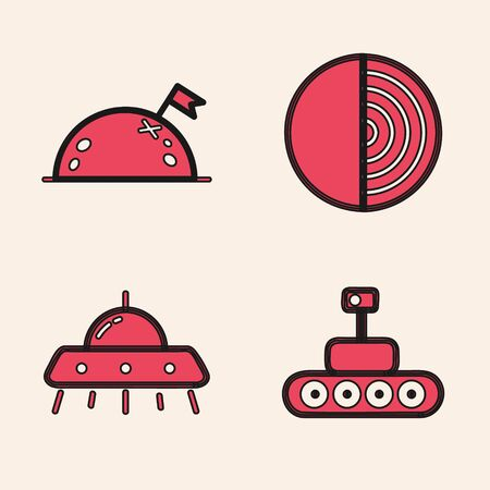 Set Mars rover, Planet with flag, Earth structure and UFO flying spaceship icon. Vector  イラスト・ベクター素材