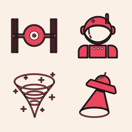 Set UFO flying spaceship, Cosmic ship, Astronaut and Black hole icon. Vector