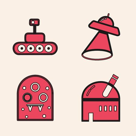 Set Astronomical observatory, Mars rover, UFO flying spaceship and Alien icon. Vector  イラスト・ベクター素材