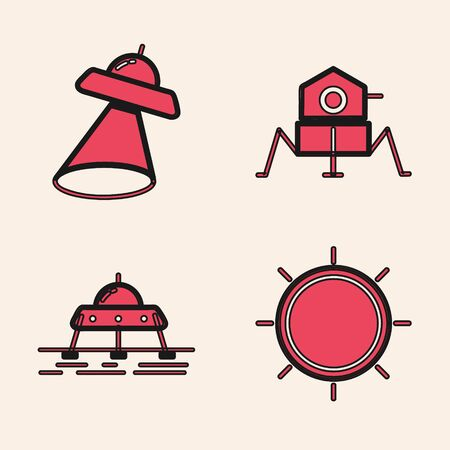 Set Sun, UFO flying spaceship, Mars rover and Mars rover icon. Vector