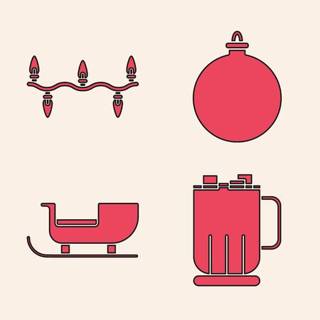 Set Hot chocolate cup with marshmallows, Christmas lights, Christmas ball and Christmas santa claus sleigh icon. Vector