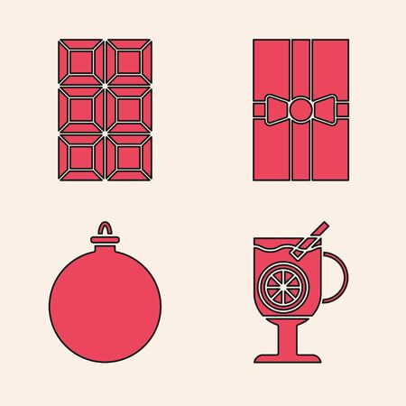 Set Mulled wine with glass of drink, Chocolate bar, Gift box and Christmas ball icon. Vector