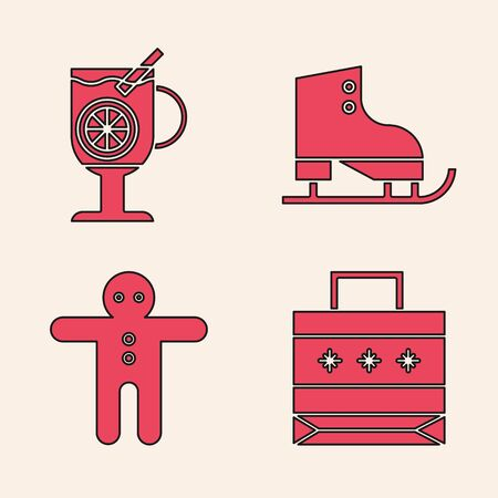 Set Christmas paper shopping bag, Mulled wine with glass of drink, Figure skates and Holiday gingerbread man cookie icon. Vector Stock Illustratie