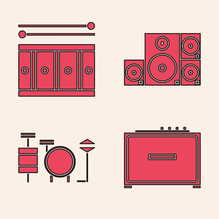 Set Guitar amplifier, Drum with drum sticks, Stereo speaker and Drums icon. Vector