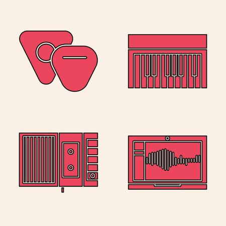 Set Sound or audio recorder on laptop, Guitar pick, Music synthesizer and Music tape player icon. Vector