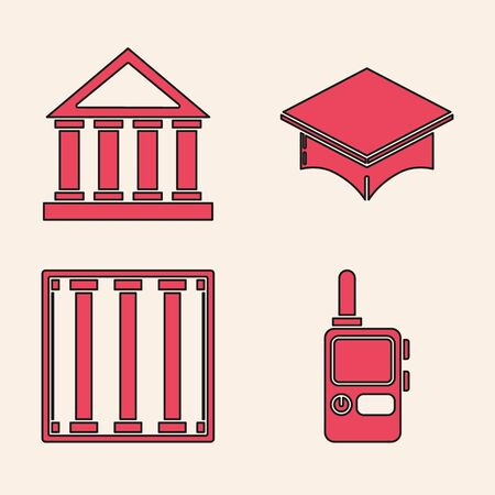 Set Walkie talkie, Courthouse building, Graduation cap and Prison window icon. Vector