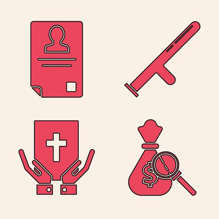 Set Money bag and magnifying glass, Identification badge, Police rubber baton and Oath on the Holy Bible icon. Vector Illustration