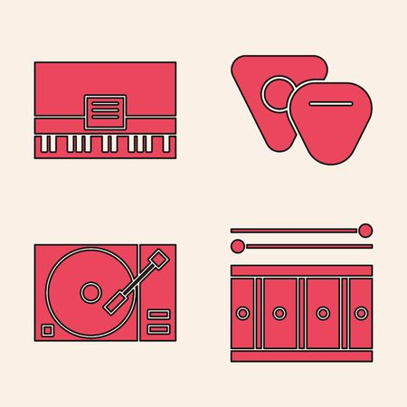 Set Drum with drum sticks, Piano, Guitar pick and Vinyl player with a vinyl disk icon. Vector