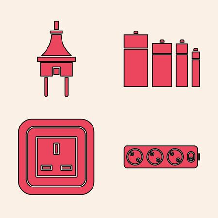 Set Electric extension cord, Electric plug, Battery and Electrical outlet icon. Vector