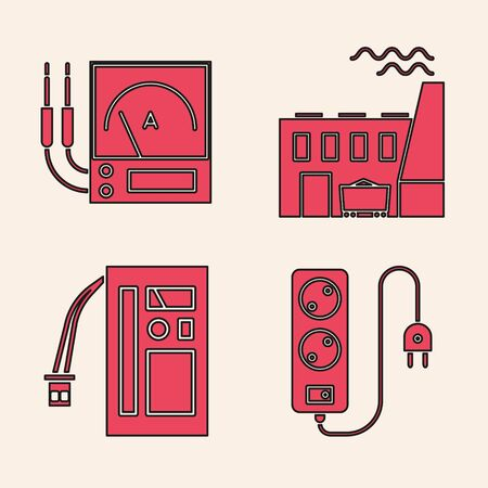 Set Electric extension cord, Ampere meter, multimeter, voltmeter, Coal power plant and factory and Battery icon. Vector