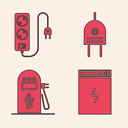 Set Power bank, Electric extension cord, Electric plug and Electric car charging station icon. Vector