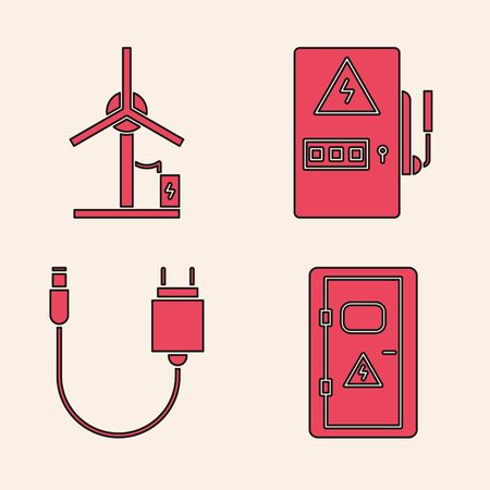 Set Electrical cabinet, Wind turbine, Electrical panel and Charger icon. Vector