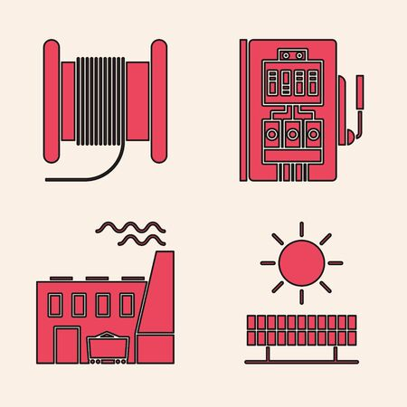 Set Solar energy panel and sun, Wire electric cable on a reel or drum, Electrical panel and Coal power plant and factory icon. Vector