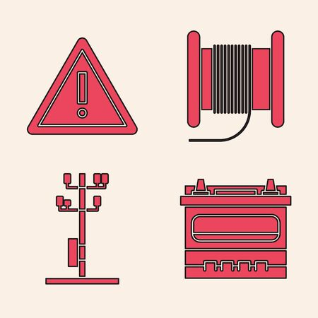 Set Car battery, Exclamation mark in triangle, Wire electric cable on a reel or drum and High voltage power pole line icon. Vector