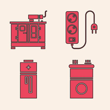 Set Car battery, Diesel power generator, Electric extension cord and Battery icon. Vector Vettoriali
