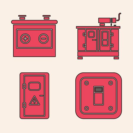 Set Electric light switch, Car battery, Diesel power generator and Electrical cabinet icon. Vector