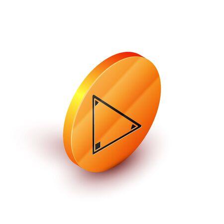 Isometric Triangle math icon isolated on white background. Orange circle button. Vector Illustration Vettoriali